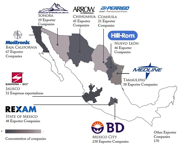Major medical device manufacturing areas in Mexico