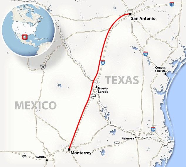 Route of proposed high speed train from Monterrey to San Antonio. Credit: Daily Mail.