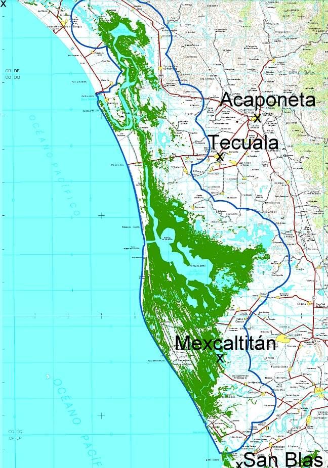 Map showing location of Marismas Nacionales