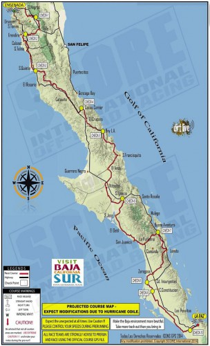 Route of Score 1000 Baja off-road race