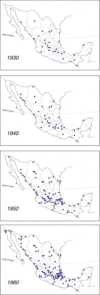 Diffusion of Banamex branches across Mexico prior to 1960