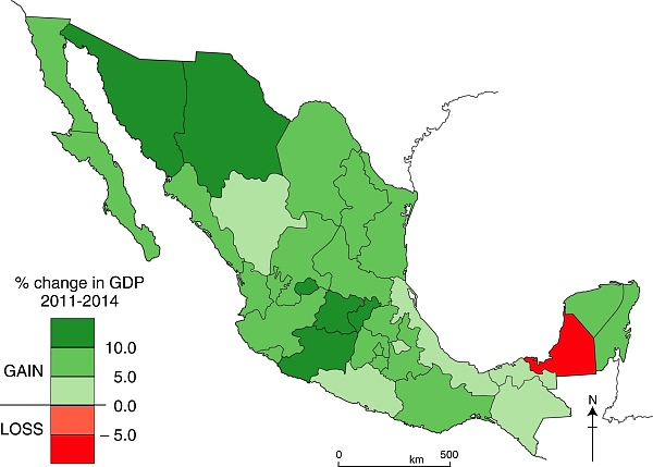 Change in GDP by state, 2011-2014. Data: INEGI. Credit: Geo-Mexico