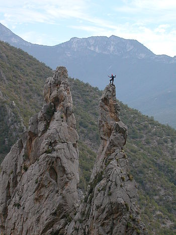 """The Spires"" in El Potrero Chico climbing area (Wikipedia photo)"
