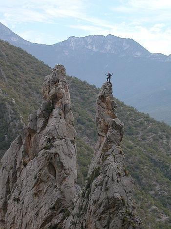 """""""The Spires"""" in El Potrero Chico climbing area (Wikipedia photo)"""