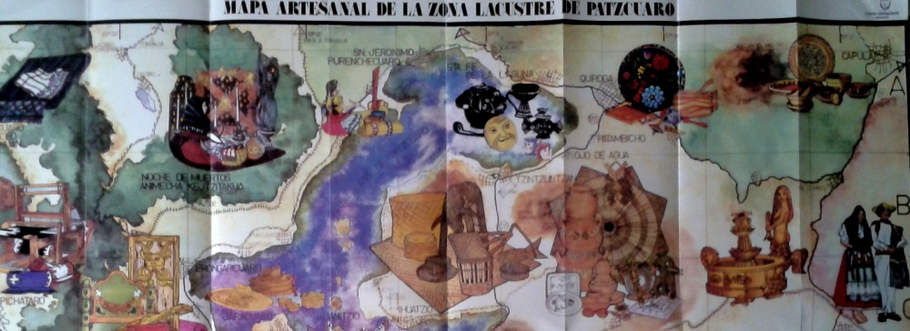 Section of tourist map showing some of handicraft towns near Lake Patzcuaro
