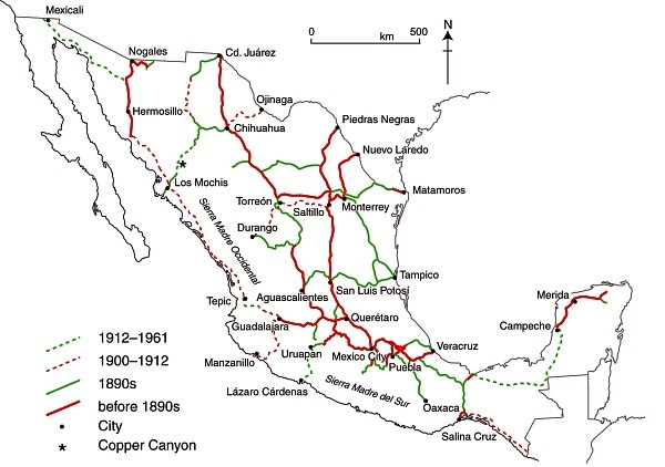 Fig. 17.2 The development of Mexico's railway network