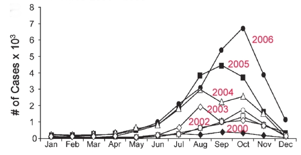 Monthly incidence of dengue cases in Mexico, 2000-2006