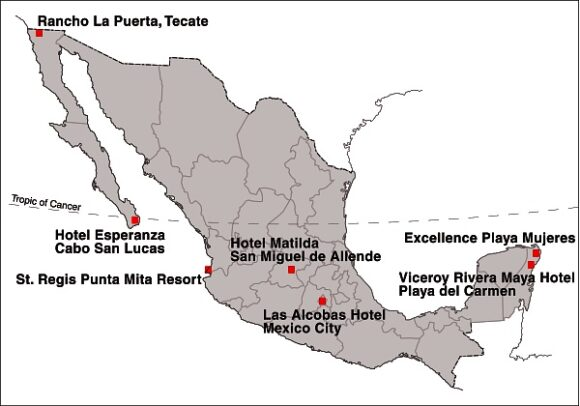 Location of Mexico's Top Seven Hotels