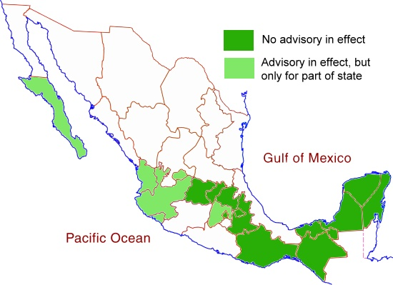 US Travel Advisory Areas, December 2014