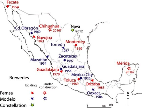 The location and inauguration dates of Femsa and Modelo breweries in Mexico