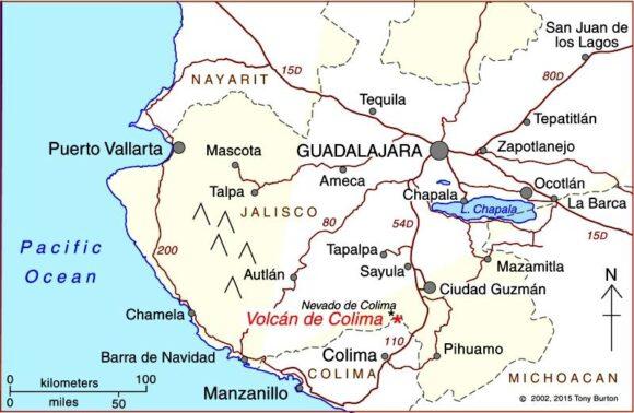 Location of Colima Volcano