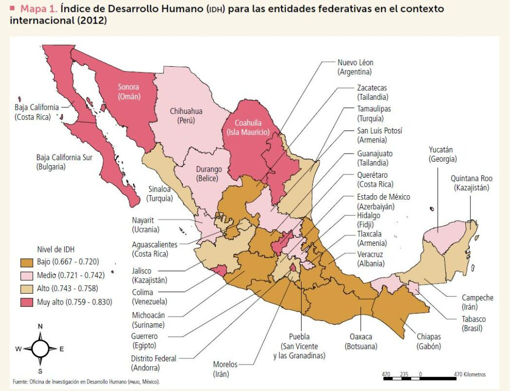 HDI in Mexico, with comparison countries for each state