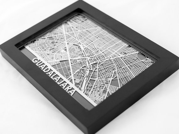Stainless steel, laser-cut map of Guadalajara
