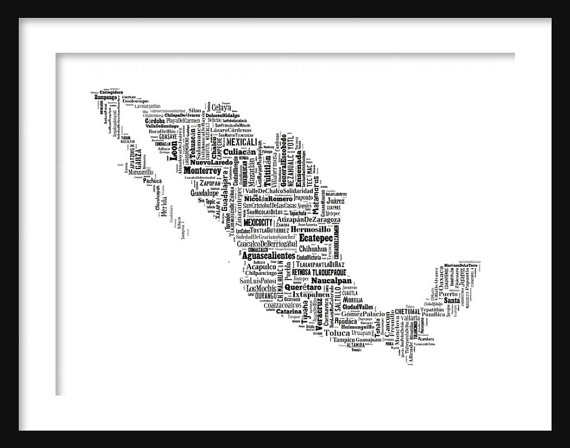 Mexico typography map