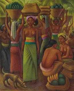 "Miguel Covarrubias: ""Offering of Fruits for the Temple"", Bali, 1932"