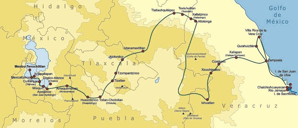 Route followed by Cortés, 1519-1521. Credit: Wikimedia Commons.