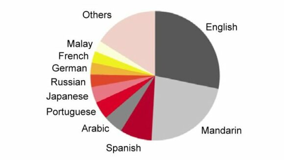 Languages used on the Internet (2015). Source: Internet World Stats