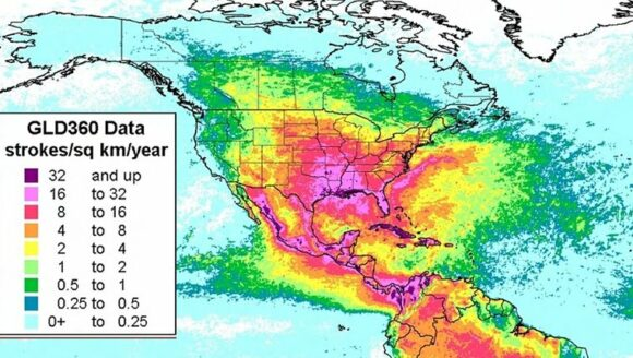 Lightning incidence, North America, 2012-2014