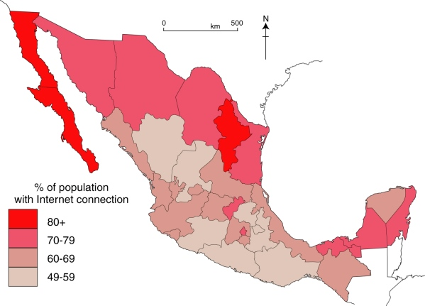 Cyber-connectivity in Mexico, 2015. Data: GCE 2015. Cartography: Geo-Mexico