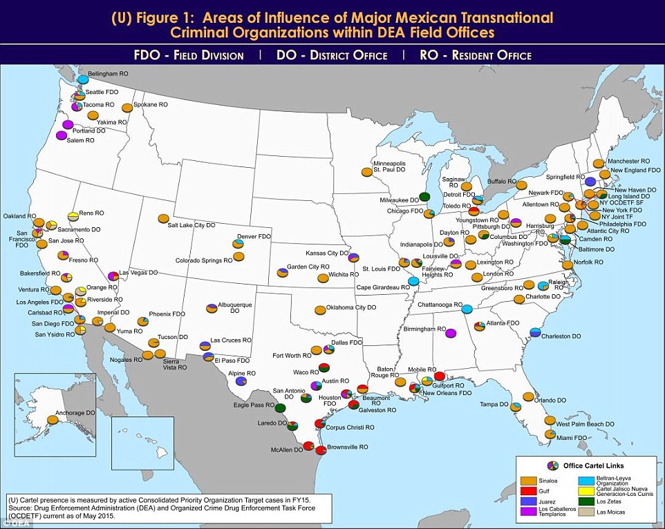 The spheres of influence of Mexican cartels in the USA | Geo-Mexico ...
