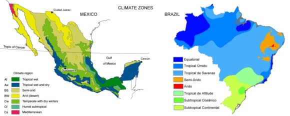 Climate zones of Mexico and Brazil.