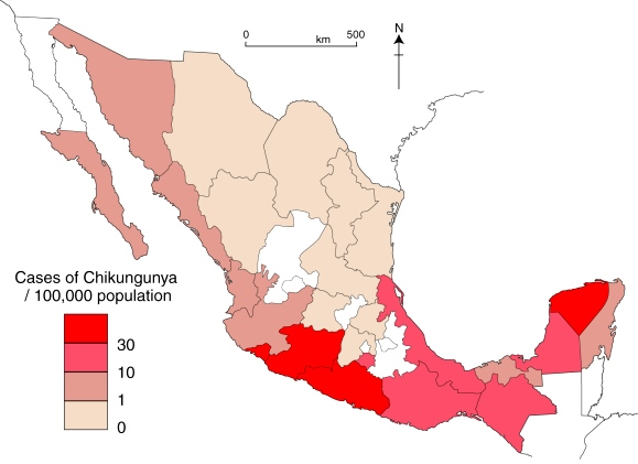 Incidence of Chikungunya, 2015, up to 24 October