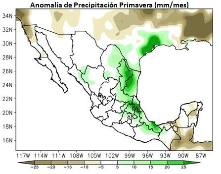 Spring precipitation anomalies