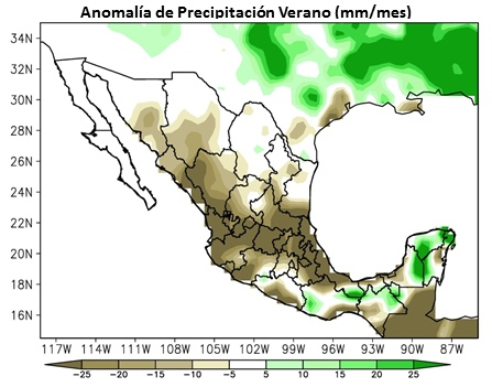 Summer precipitation anomalies in a strong El Niño year. Source: CNA