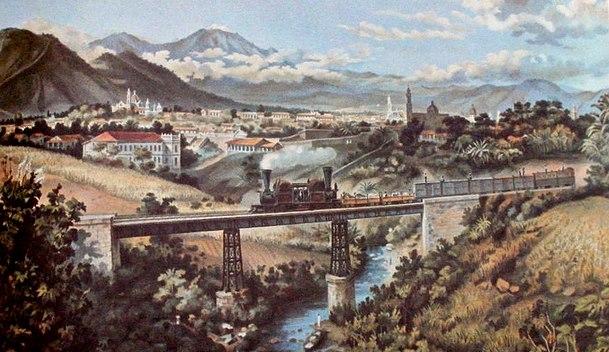 Detail of lithograph by Casimiro Castro of Railway near Orizaba, Veracruz