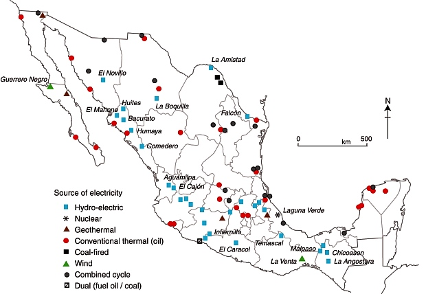Mexico's major power stations. Fig 16-2 of Geo-Mexico; all rights reserved.