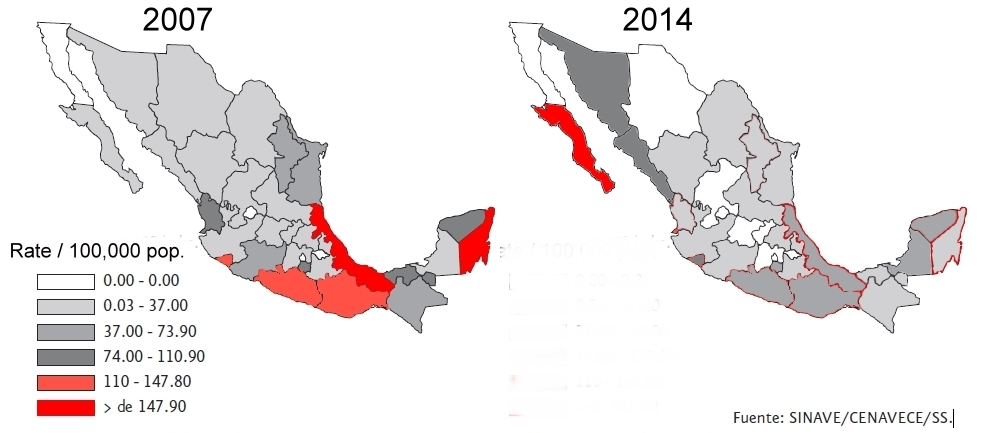 Rates of dengue by state, 2007 and 2014