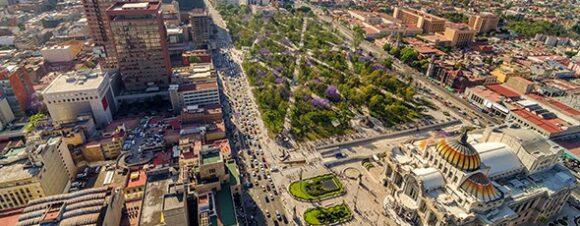 Alameda Park, Mexico City, with Palacio de Bellas Artes in foreground