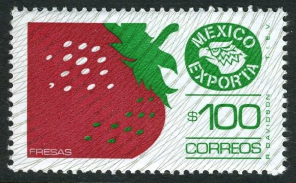 Postage stamp, strawberry exports