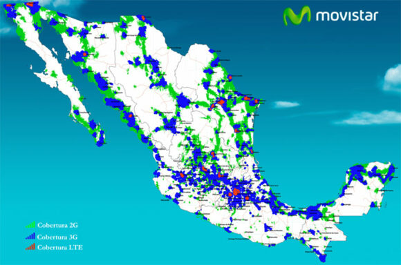 Movistar coverage, 2G, 3G, 4G - 2016