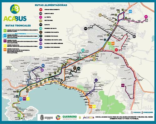 Map of ACAbús network; click forlarger pdf map