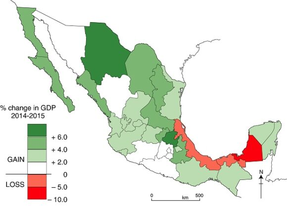 Change in GDP, by state, 2014-2015. Data: INEGI. Cartography: Tony Burton / Geo-Mexico